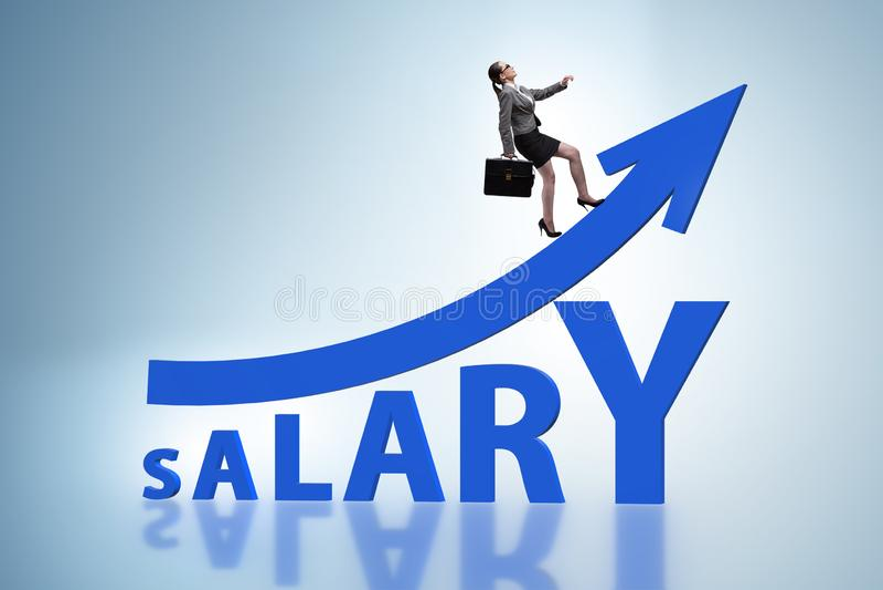Das Konzept des zunehmenden Gehalts mit Geschäftsfrau lizenzfreie stockbilder