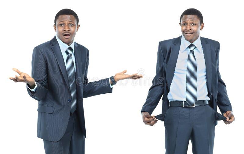 Das Konzept eines Geschäftsmannes hat kein Geld stockbild