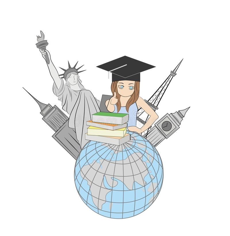 Das Konzept von auf der ganzen Welt unterrichten Weltanblick auf dem Hintergrund der Erde Mädchen mit Büchern Auch im corel abgeh vektor abbildung
