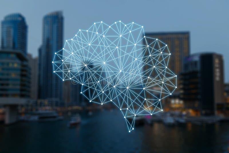 Das Konzept von autonomen Sachen und von intelligenter Stadt stock abbildung