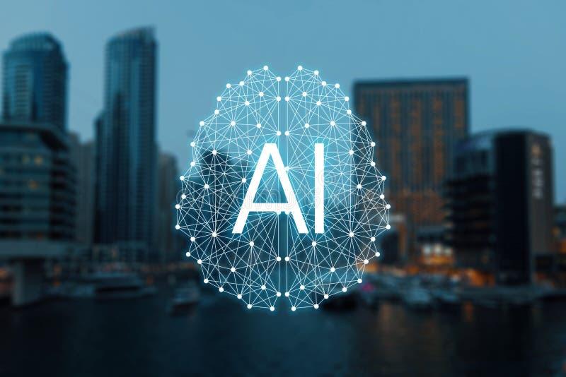 Das Konzept von autonomen Sachen und von intelligenter Stadt stockbilder