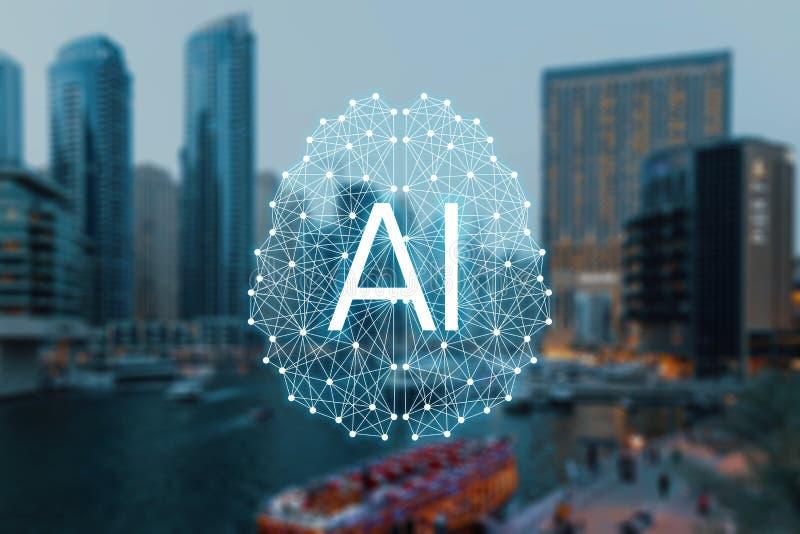 Das Konzept von autonomen Sachen und von intelligenter Stadt lizenzfreie abbildung