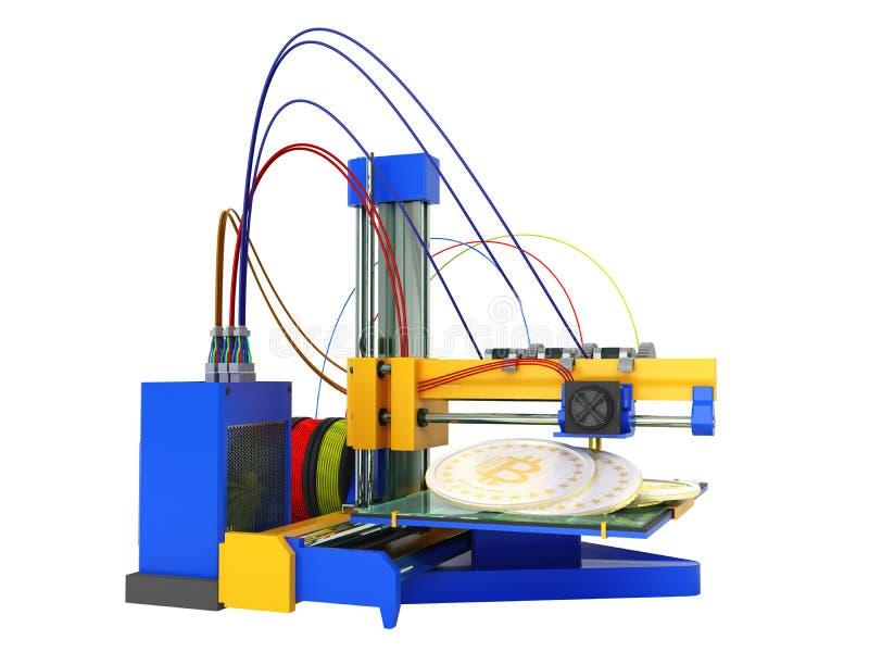 Das Konzept von bitcoin 3d Druck des Druckers 3d übertragen auf weißem backg stock abbildung