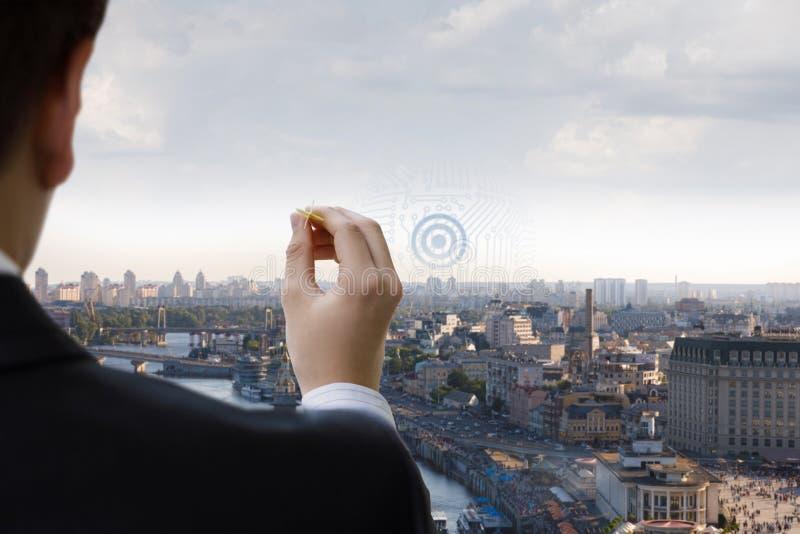 Das Konzept von ehrgeizigen Zielen im Geschäft lizenzfreies stockbild