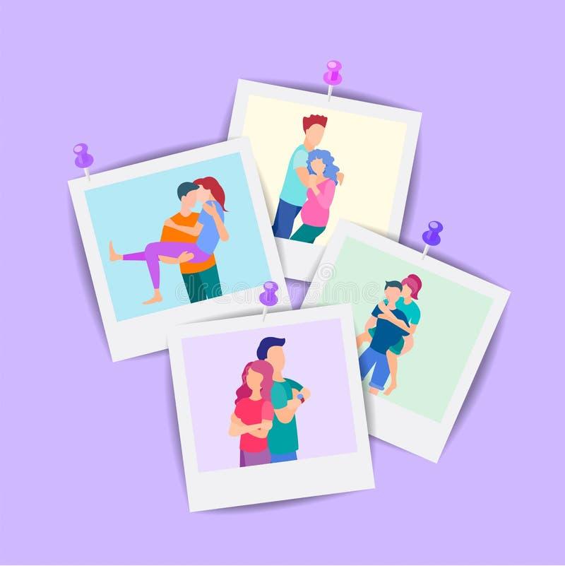 Das Konzept von Familienphotographie, von denkwürdigen Sitzungen, von Liebe und von Freundschaft vektor abbildung