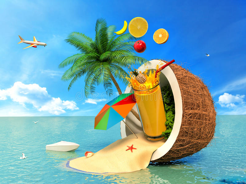 Das Konzept von Ferien Kokosnuss, Strandschirm und Fruchtsaft