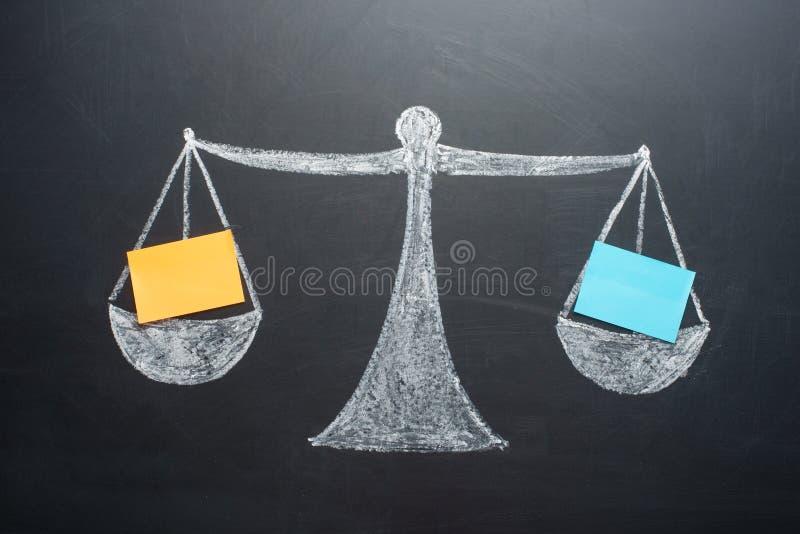 Das Konzept von Gewichten mit Leerbelegen der Bilanz lizenzfreie stockfotos