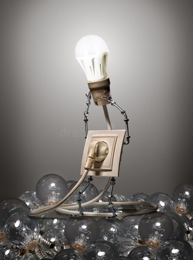 Das Konzept von Glühlampen der Entwicklung stockbild