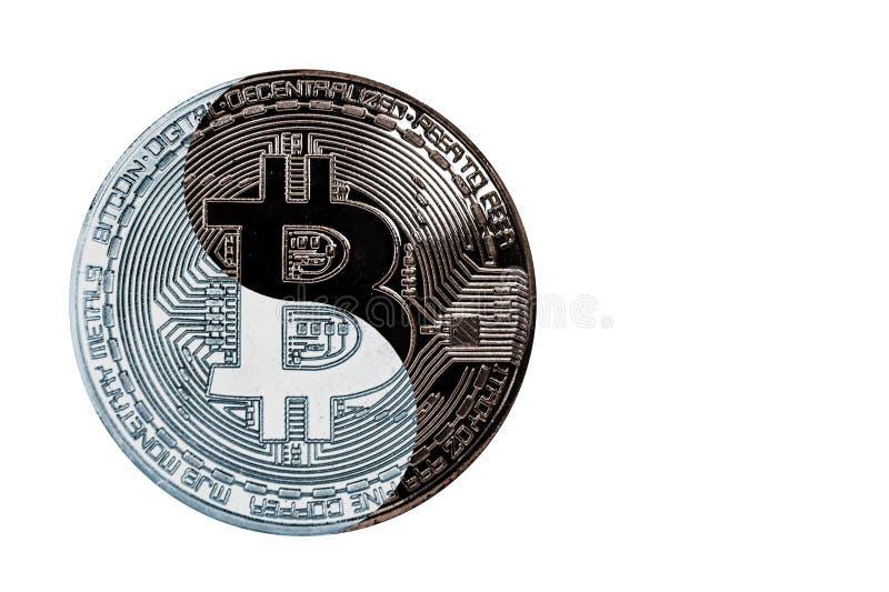 Das Konzeptmünze bitcoin YinYang lizenzfreie stockfotografie