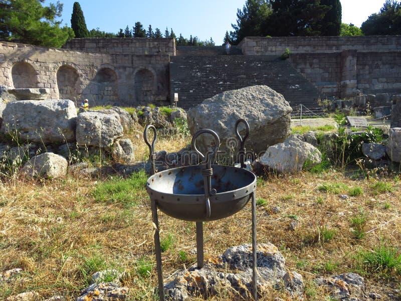 Das Kos Asklepion Seine Ursprung werden zurück zu 400 BC verfolgt lizenzfreie stockfotografie