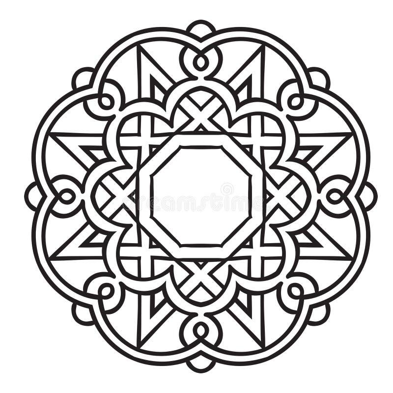 Das Kreismuster wird benutzt, um Teller, Kleidung und andere Zwecke zu entwerfen Islamische ethnische Verzierung für Tonwaren, Fl lizenzfreie abbildung