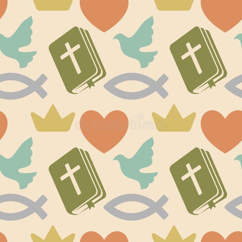 Das Kreuz mit der Kreuzigung des nahtlosen Musters Lord-und Retter-Jesus ChristColorfuls mit christlichen Symbolen Bibel, Kirche stock abbildung
