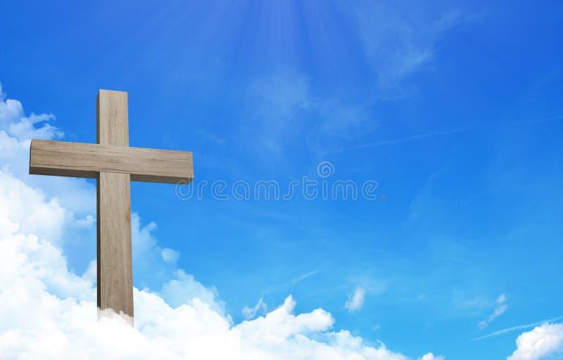 Das Kreuz von Jesus und von cloudful blauem Himmel mit Kopienraum lizenzfreie abbildung