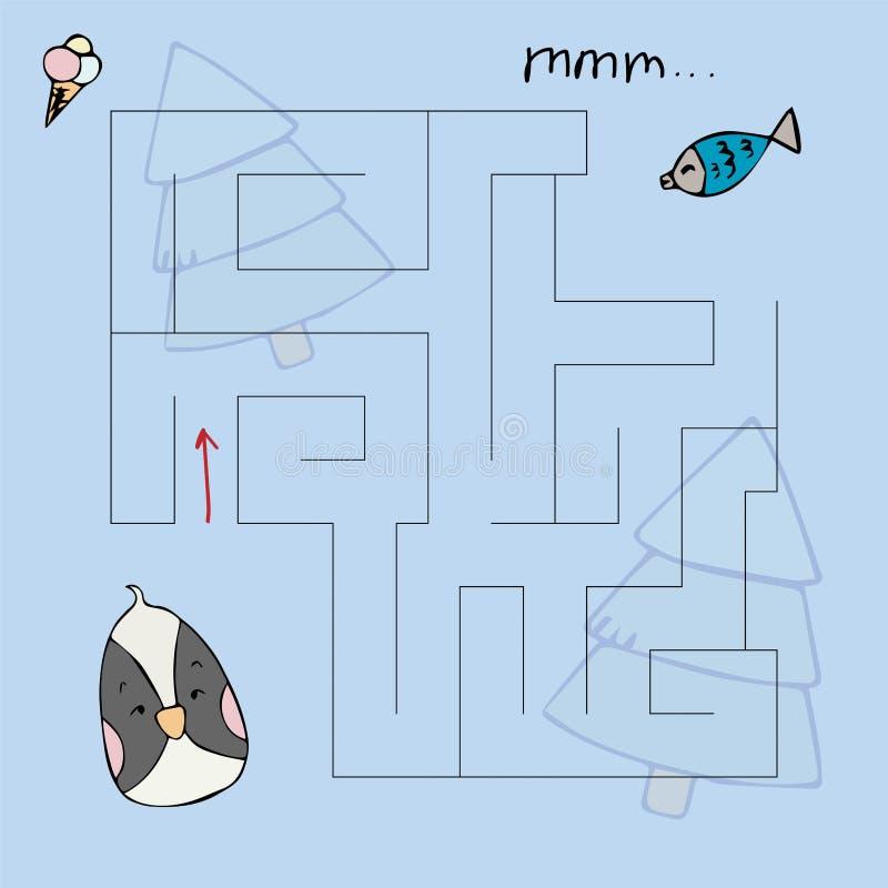 Das Labyrinth der Kinder mit Tieren Schatzvektorillustration lizenzfreie abbildung