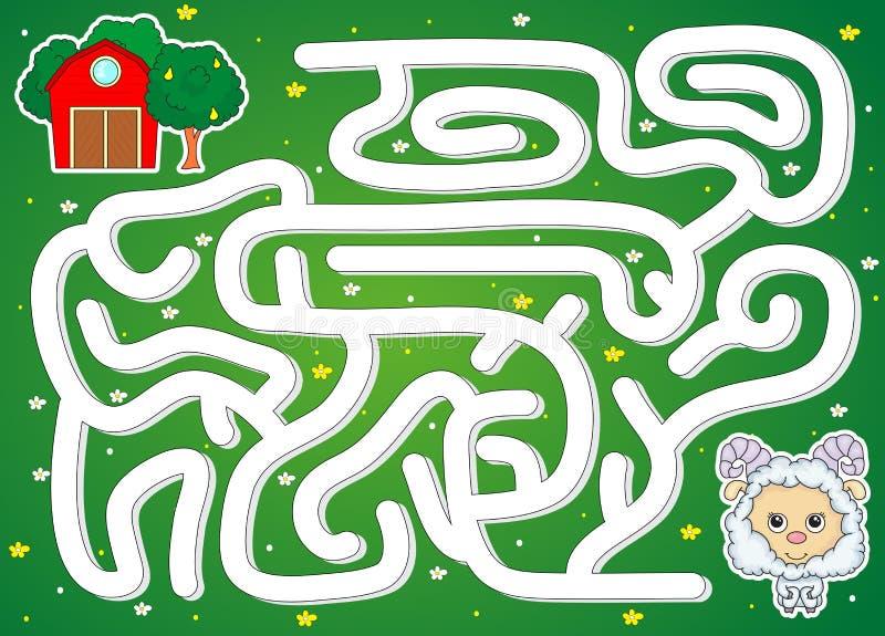 Das Lamm muss die Weise zur Scheune finden Spiel für Kinder vektor abbildung