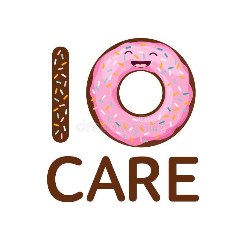 Das Leben ist Hemd Donutsorgfalt Essen Sie Donutlebensmittel Mode-Slogan des Nachtischs den ersten lustigen, der auf weißem Hinte lizenzfreie abbildung