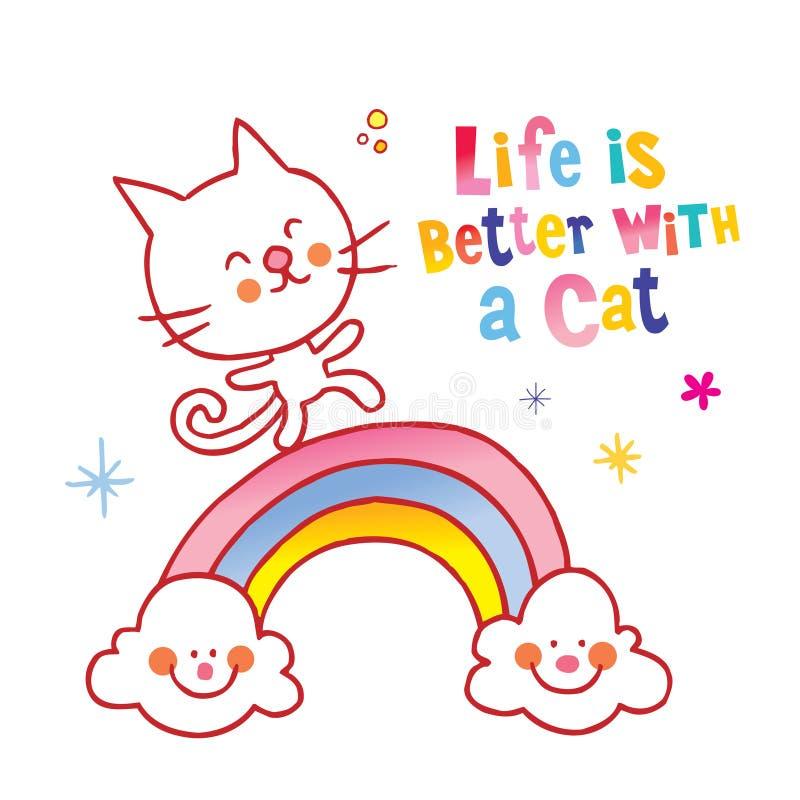 Das Leben ist mit einer Katze besser vektor abbildung