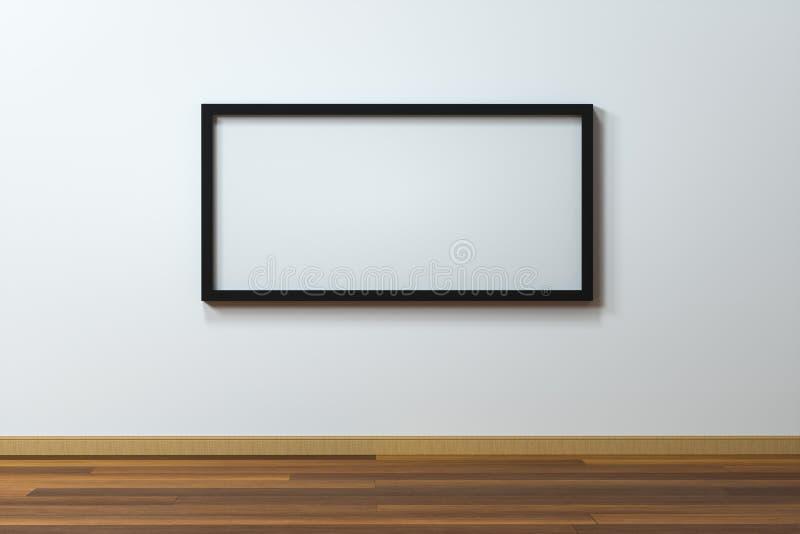Das leere Gestellbrett mit Bretterbodenhintergrund, Wiedergabe 3d lizenzfreie abbildung