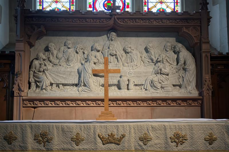 Das letzte Abendessen Altarentlastungsskulptur H?lzernes Kreuz stockfoto
