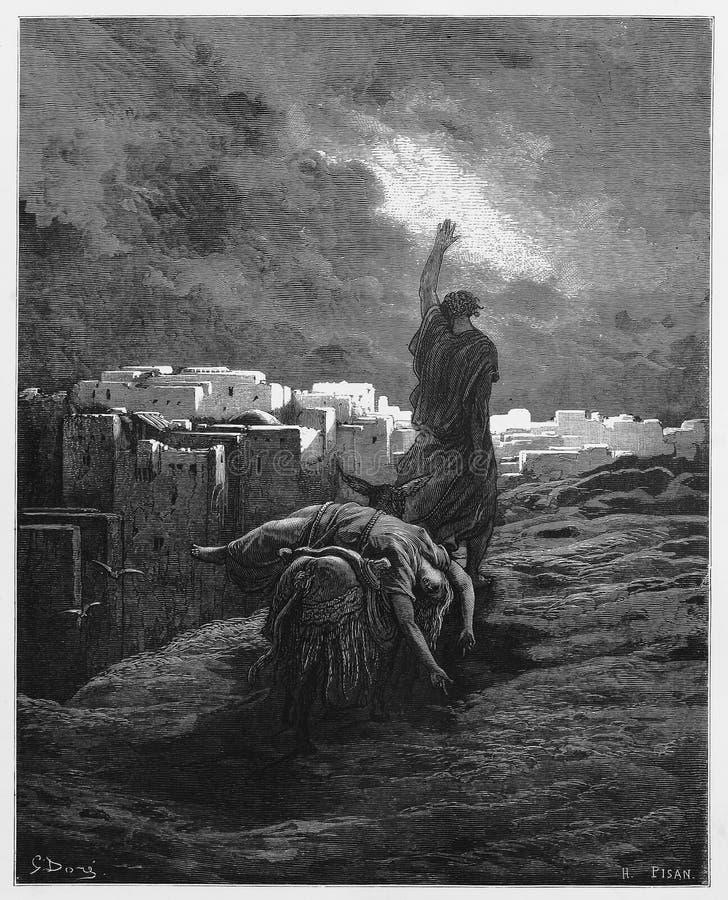 Das Levite trägt den Frauenkörper weg stock abbildung