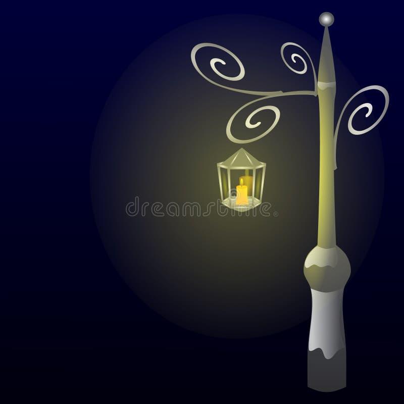 Das Licht einer Laterne in der Nacht stockbild