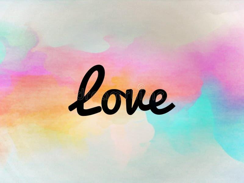 Das Liebeswort auf einem bunten Hintergrund stock abbildung
