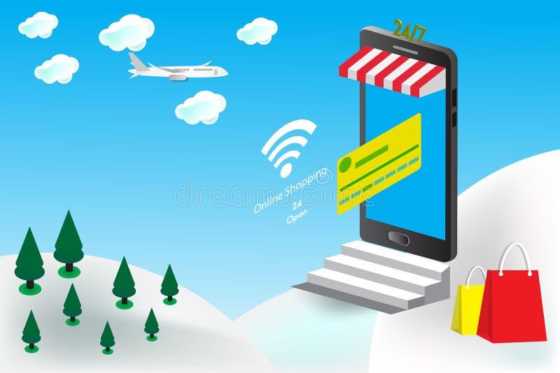 Das on-line-Einkaufen am intelligenten Telefon mit Radioapparat modren Entwurfsschablonentechnologie lizenzfreies stockfoto