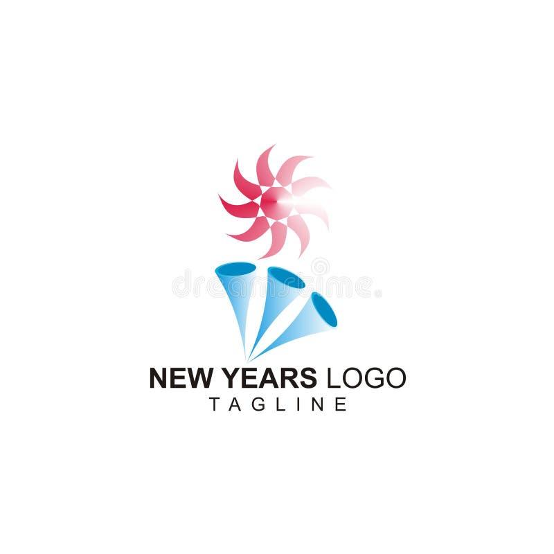Das Logo der neuen Jahre mit Trompete drei und einem kleinen roten Sonnenentwurf stock abbildung