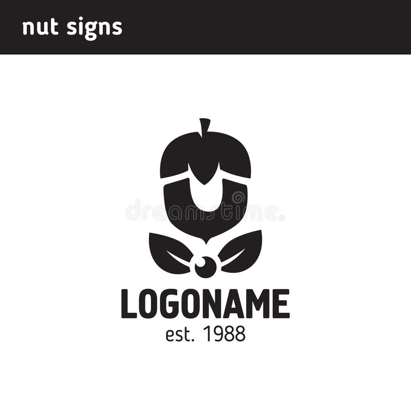 Das Logo in Form einer Nuss stock abbildung