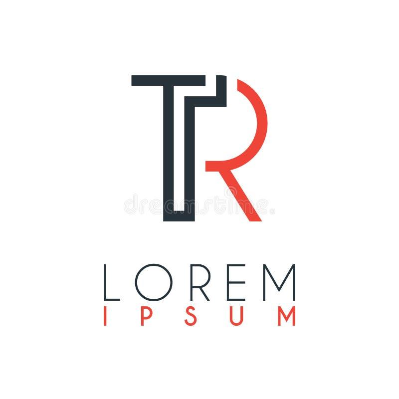 Das Logo zwischen dem Buchstaben T und Buchstaben R oder TR mit einem bestimmten Abstand und durch orange und graue Farbe angesch vektor abbildung