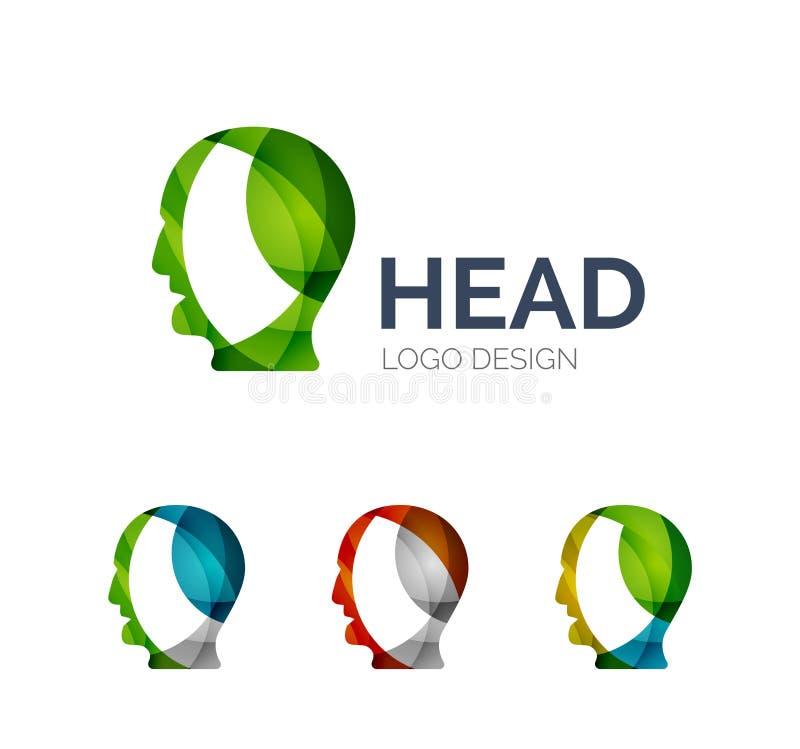 Das Logodesign des menschlichen Kopfes, das von der Farbe gemacht wird, bessert aus lizenzfreie abbildung