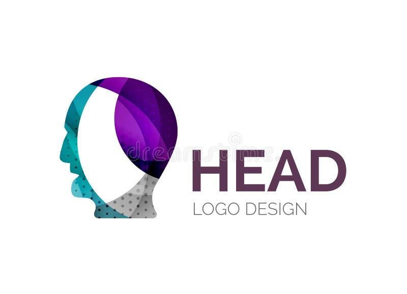 Das Logodesign des menschlichen Kopfes, das von der Farbe gemacht wird, bessert aus vektor abbildung
