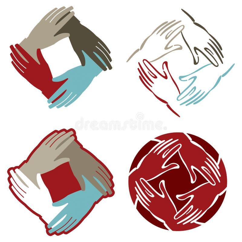 Das mãos logotipo junto ilustração do vetor