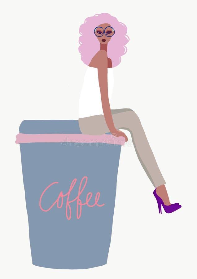 Das Mädchen, das auf Kaffee sitzt, nehmen Becherillustration weg biracial afroe-amerikanisch Frau mit Kosmetik lizenzfreie abbildung