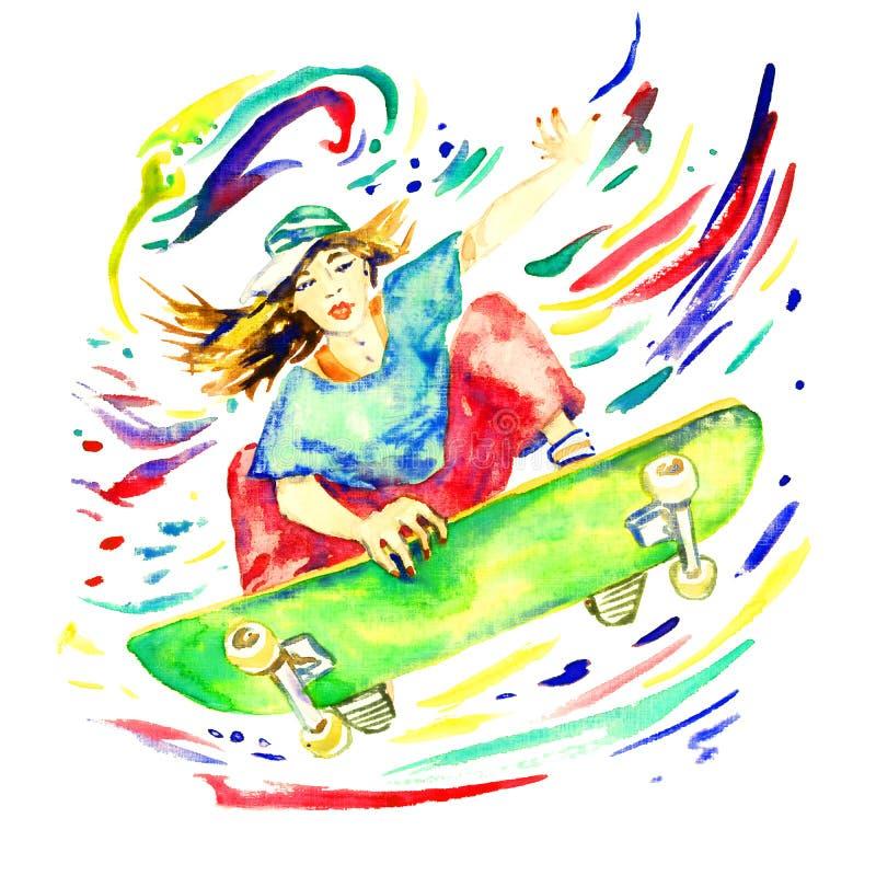 Das Mädchen, das auf das Skateboard springt, bunt spritzt herum lizenzfreie abbildung