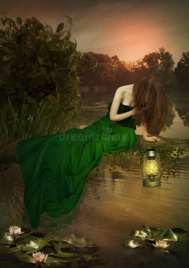 Das Mädchen, das über dem Wasser sitzt stockbilder