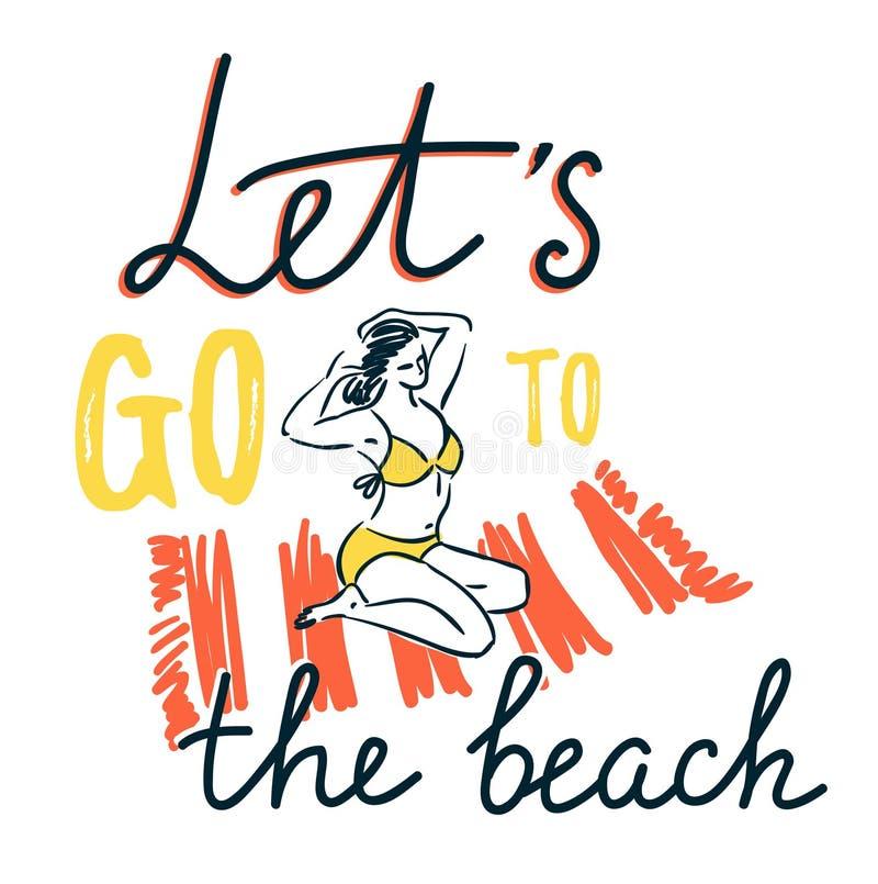 Das Mädchen, das auf einer Strandmatte auf dem Meer ein Sonnenbad nimmt und kämmen das Haar - Sommerferienkonzept stock abbildung