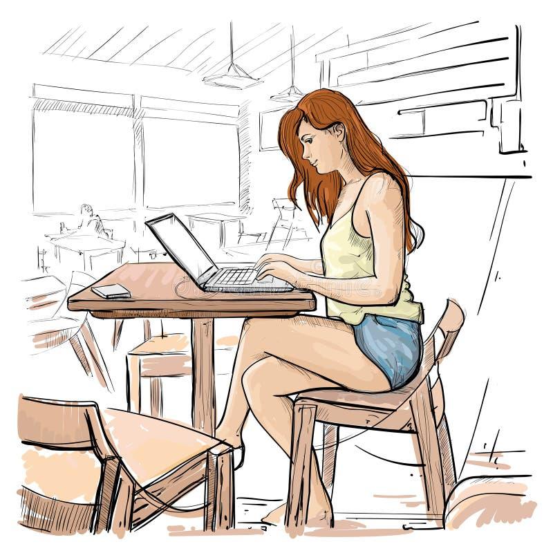 Das Mädchen, das auf Laptop-Computer schreibt, skizzieren die junge Frau, die on-line-Sitzen auf Stuhl-Wohnzimmer-Innenraum plaud lizenzfreie abbildung