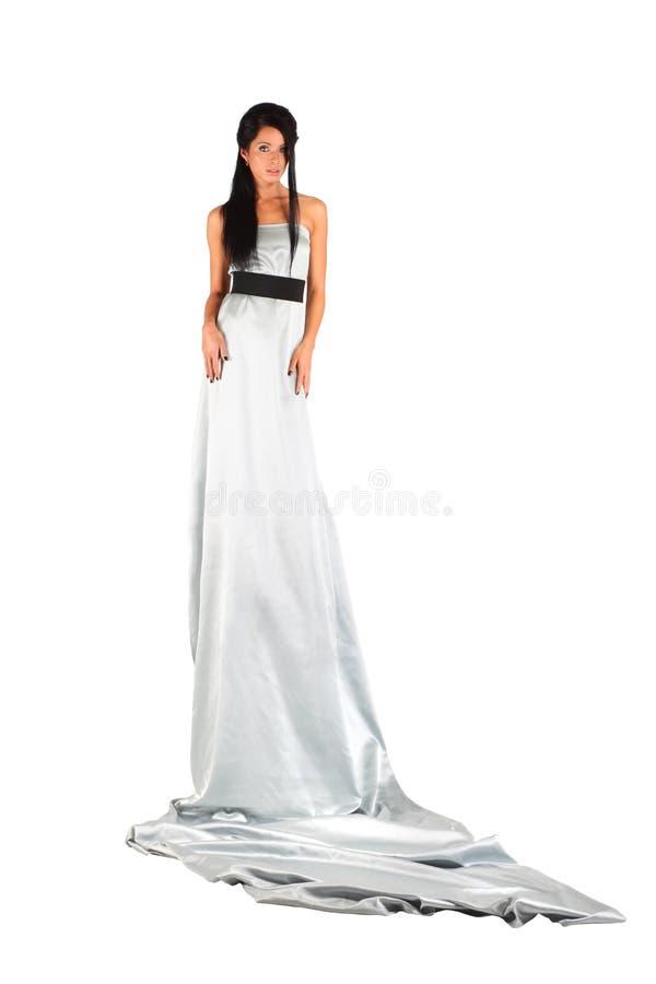 Das Mädchen, Das Langes Silbernes Kleid Trägt, Schaut Geheimnisvoll ...