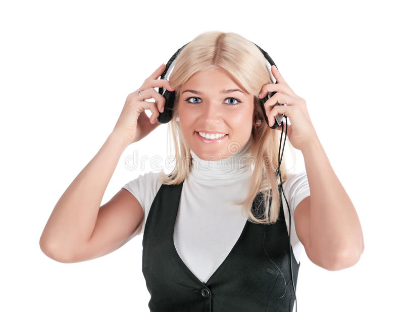 Das Mädchen in den Kopfhörern stockfoto