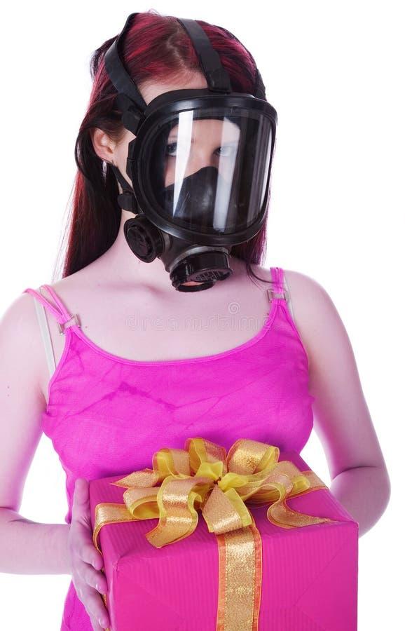 Das Mädchen in der Gasmaske stockbilder