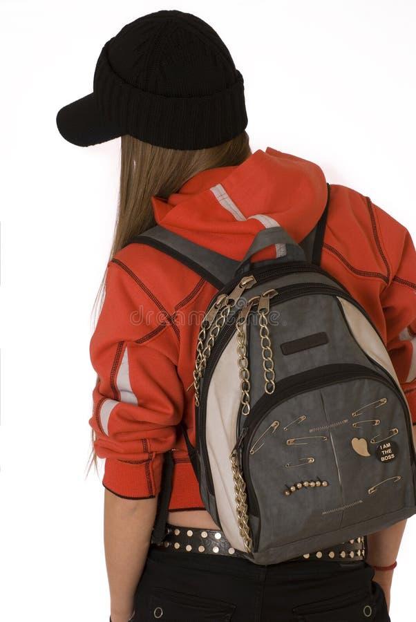 Das Mädchen der Jugendliche mit einem Rucksack stockbilder