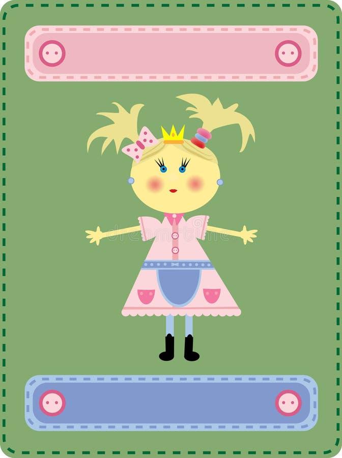 Das Mädchen die Prinzessin auf einem grünen Hintergrund stockbild