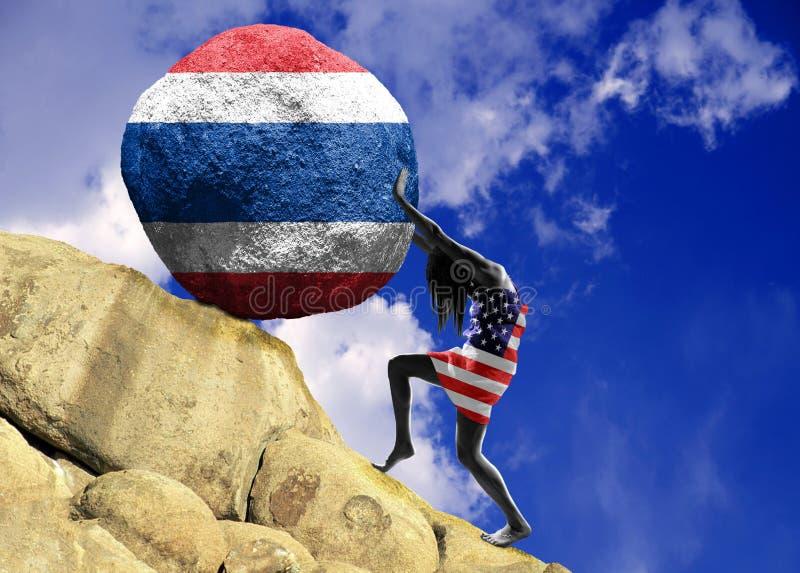 Das Mädchen, eingewickelt in der Flagge der Vereinigten Staaten von Amerika, hebt einen Stein zur Spitze in Form eines Schattenbi vektor abbildung