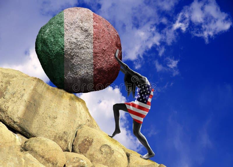 Das Mädchen, eingewickelt in der Flagge von den Vereinigten Staaten von Amerika, hebt einen Stein zur Spitze in Form eines Schatt stock abbildung