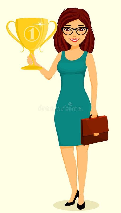 Das Mädchen hält eine Goldtrophäe in ihrer Hand Erfolg im Gesch?ft Gesch?ft und Finanzierung zeichen stockfotografie