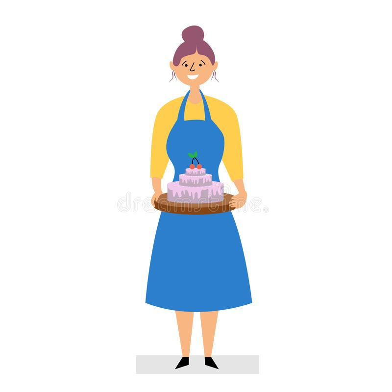 Das Mädchen hat zu Hause einen Kuchen gebacken lizenzfreie abbildung