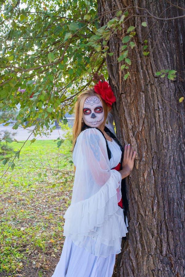 Das Mädchen im Bild von Santa Muerte stockfotos