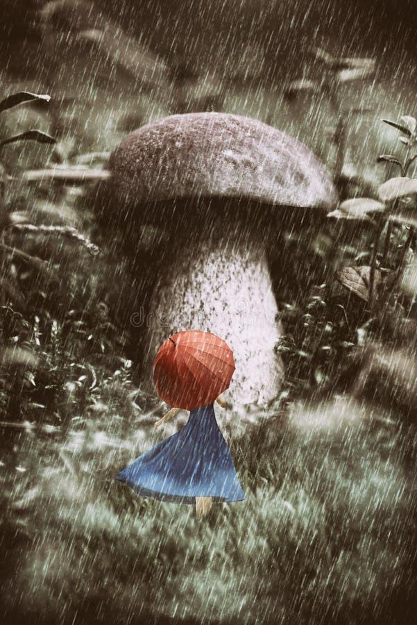 Das Mädchen, das im blauen Kittel mit dem roten Regenschirm geht am Regen im Wald gekleidet wird, hat überraschenden enormen Pilz vektor abbildung
