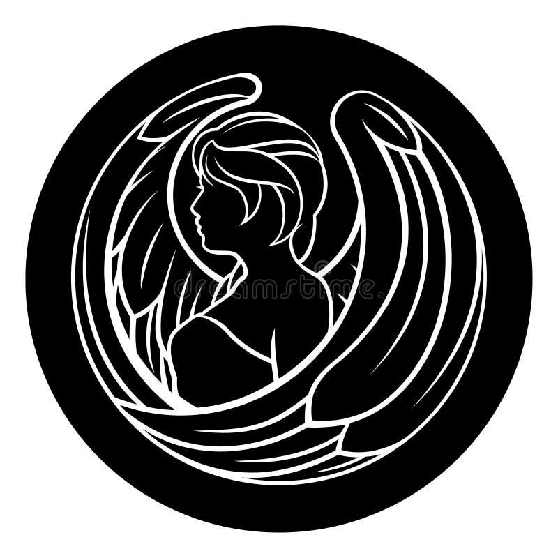 Das Mädchen im griechischen chiton und im flüssigen Haar  Stellung vektor abbildung